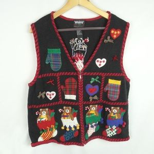 Ugly Christmas Sweater Vest Teddy Bears Size XL